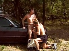 Two handsome guys enjoy Outdoor Sex