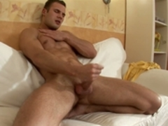 naughty man plays with his body and schlong