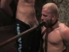 blonde homosexual In bondage mouth pounded