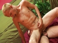Gay slave serves cock so well