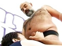 Boy fucking a hairy chubby bear