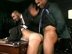 naughty gay fellows hammering In trio