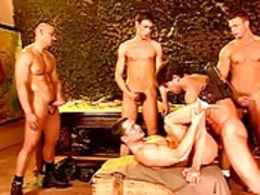 A Bunch Of Army guys enjoy An All Male bang Fest