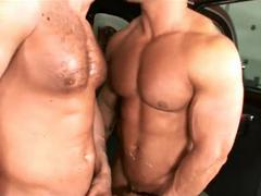 Three  muscular Car Mechanics slamed nakedback