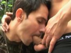 Military Latin soldiers have homosexual sex outdoors