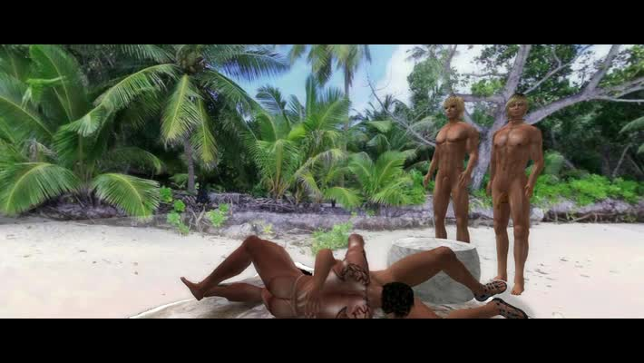 Two couples Meet During A Dance Party On Tthowdys stud Beach.