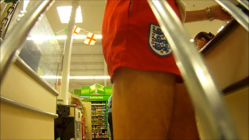 WEARING A PAIR OF POPULAR VERY nasty AND SHORT ENGLAND NYLON SHORTS. GO ROUND The SUPERMARKET TO get The WEEKLY SHOPPING. rod AND BALLS EASILY FALL