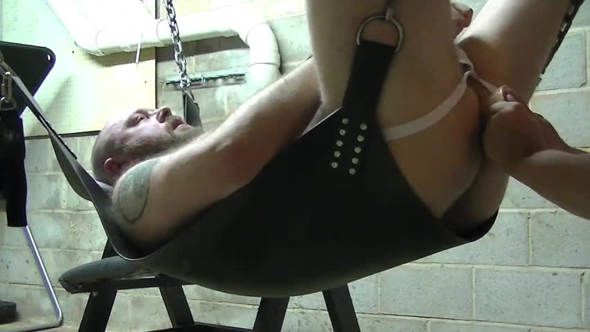 What The Title Says. I Plug Geekbear's hole With Some Of his dildos while he Lies Back In his Baspermt Sling. No cum snaughty.