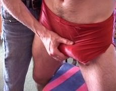 Me  Filming Two Other lads To Make A (hopefully) Erotic shlong Manalhole age video scene. The Red Shorts Are Mine - But They Had To Be Thrown Out beca