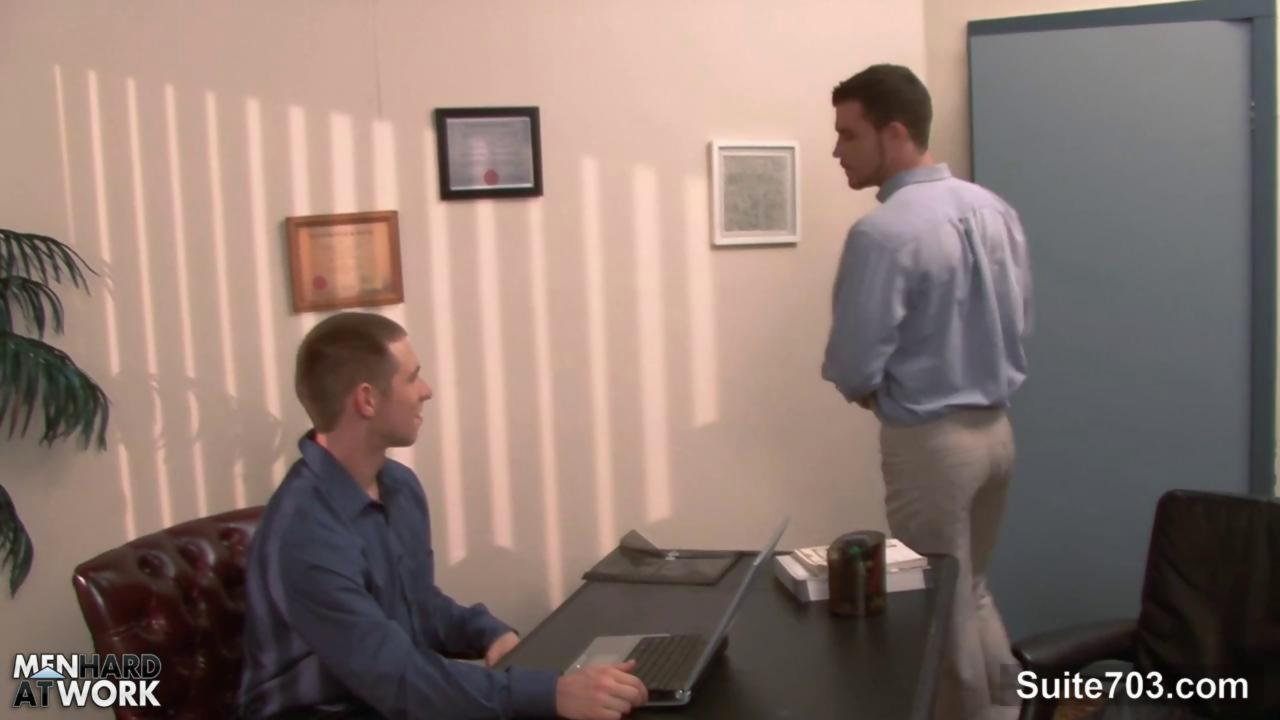 lusty gay receives pooper gangfucked In The Office