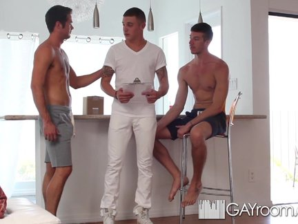 HD GayRoom - trio With The Delivery guy