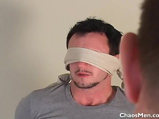 Blindfolded boy gets blow job