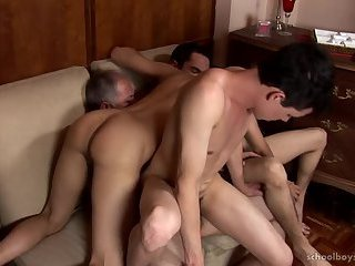 Geezer gets lucky With Three twinks - Part 2