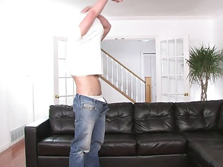 Toned dude Takes His raiment Off And Masturbates Excitedly On The Sofa