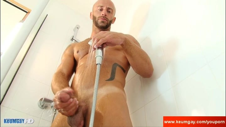 Hunk Male With humongous cock Taking A Shower Very slutty !