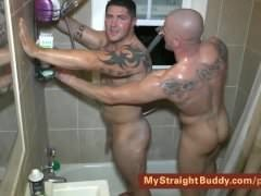 Straight Marines Nick & Brennan In The Shower