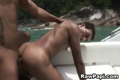 beefy gay guys pound butthole Out On The Boat
