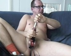 cumshot Blocker Sounding And Estim Vid. Great cumshot With The Sound Still Into My cock.