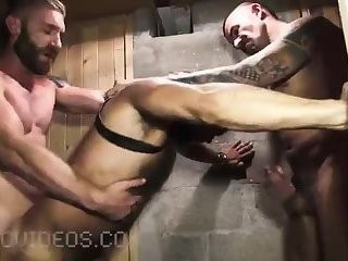 rock hard Tattooed men nailing In 3some