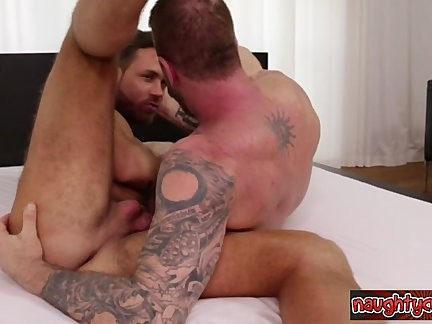 Brutal Stepfather sucking large knob