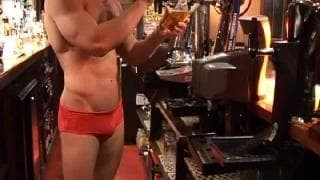 A admirable cook jerking After Playing Pool