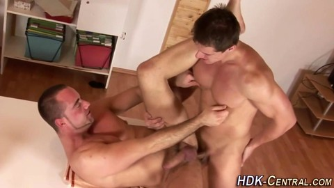 Muscly bare homo fuck N cum