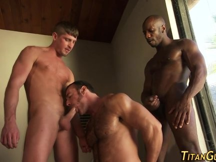 Hunk face holes black cock