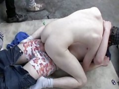 Outdoor concupiscent teens group sex