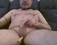 jerk off On The Sofa. I Put My Collar On (it actually Turns Me On) And Then I Peg My Balls And rod. Just As I would Got As Many Pegs On As I Was inten