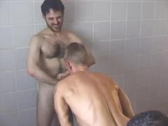 Three males Have Sex In A Steamroom