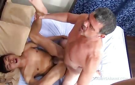 Daddy Mounts A sleazy oriental School twink Bum gap.