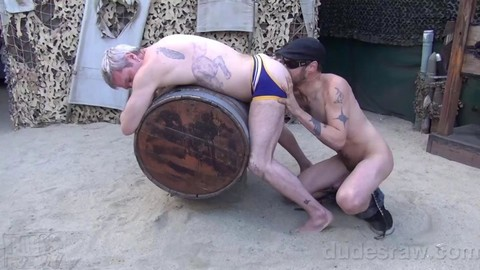 Blond guy gets His butt Rimmed And poked Outside doggystyle