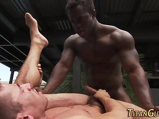 Muscled dark guy sperm