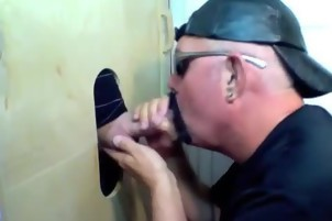 A Glory hole Fan Has Brought His friend To Share One face hole