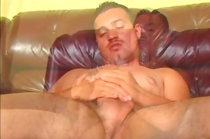 Hard Latino Strokes His bushy ramrod Till It Cums