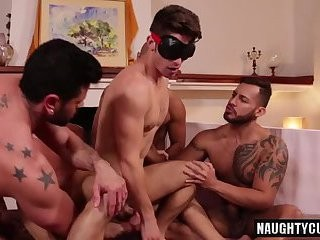 Tattoo homosexual men arse stab And ejaculation