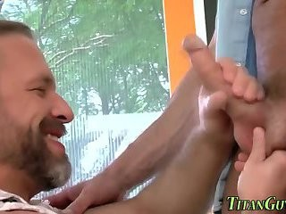 Bigcock homosexual lad Spunking