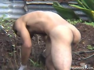 brunette man Whacking Off Outdoor