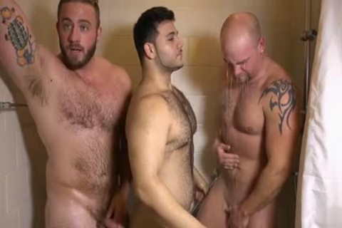 Muscle homo three-some And ball cream flow