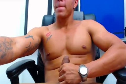 Flirt4Free Latino guy shoots A Load From His Monster dick