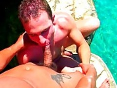 Two handsome gays In A naughty Sex Game By The Pool