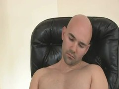 cum eating Bald Muscled dude Sizzling delicious