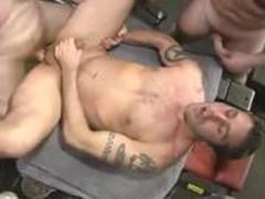 group of ex con mechanics have sweet homosexual orgy