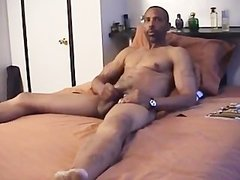 Super nasty black daddy strips Off And Jerks his Monster black knob