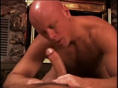 Bald brawny stud receives stunning anal slamming