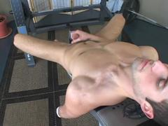 pretty man Does Crunches And Beats Off