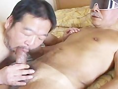 asian old guy Has hellos humongous ramrod sucked By lusty daddy Bear