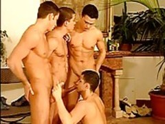 shlong-sucking and drilling Party with 4 naughty European dudes!