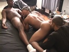 sexy  black guys rimming and driling thre ...