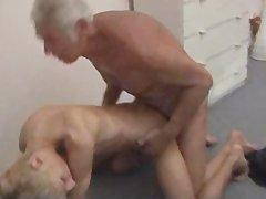 Blond boy plowed by grampa!